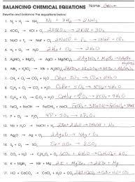balancing equations practice worksheet answers elegant new chemical