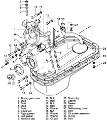 4 exploded view of the timing cover and oil pan on the 1597cc engine