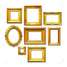 white antique picture frames. Set Of Antique Golden Frames On White Background. Art Gallery Stock Photo -  43897897 Picture