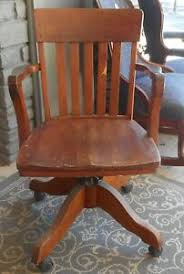Wooden swivel desk chair Leather Antique Vintage 1920 Oak Wood Swivel Desk Office Arm Chair As Is Phila Pamono Oak Swivel Chair Ebay