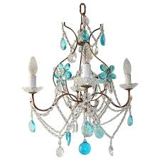 1920 french bagues style aqua flowers crystal chandelier for