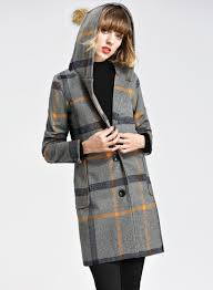 hooded long sleeve plaid wool coat with belt