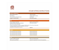 House Sitting Checklist House Sitting Checklist House Sitter Checklist