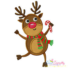 Candy Cane Applique Design Christmas Applique Embroidery Design Dancing Reindeer With