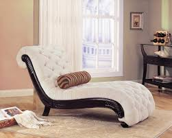 furniture fancy white cotton padded chaise lounge chairs for bedroom with black varnished wooden frame