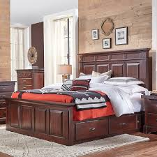 king storage bed. Kalispell Wood Mantel Storage Bed In Rustic Mahogany King