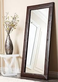 amazoncom abbyson allure brown leather floor mirror home  kitchen