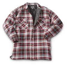 Men's Quilted Flannel Shirt Jacket - 639198, Insulated Jackets ... & Men's Quilted Flannel Shirt Jacket, Red / Black Adamdwight.com