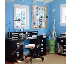 extraordinary small home office shelving ideas. amusing blue wall painted schemes feat black office table shelf also reading chair as well white wooden ceiling in modern loft small home ideas extraordinary shelving