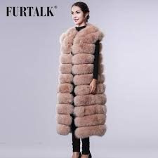 furtalk 100 real fox fur coat russian natural fox fur vest women winter long fox fur vest fashion detached fur vest