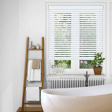 best blinds for bathroom. Pale White Faux Wood Blind Which Has A Fine Smooth Finish And Is Manufactured In Best Blinds For Bathroom