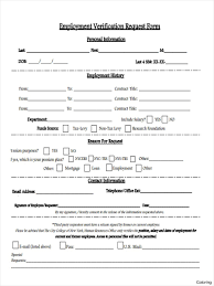 Free Employment Verification Form Template Previous Employment Verification Request Form Coloring 100 Sample Free 37