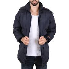 shine mens padded coat men winter jacket navy