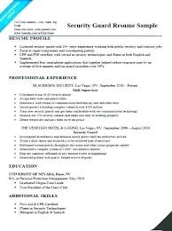 Security Guard Resume Sample Security Guard Resume Example Resume