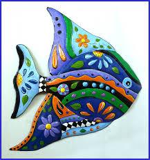 metal wall art painted metal fish art blue tropical fish wall