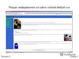 Презентация на тему Матвеев Евгений Валерьевич Электронное  5 Раздел информатики на сайте school keldysh ru Слайд 5Рисунок 2