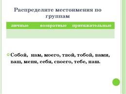 Презентация по русскому языку на тему Повторение местоимения  Распределите местоимения по группам Собой нам моего твой тобой вами