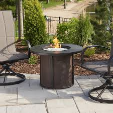 the outdoor greatroom company stonefire 31 inch round propane gas fire pit table with 20 inch crystal fire burner brown sf 32 k ultimate patio