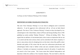 an essay on zero tolerance policing in university  document image preview