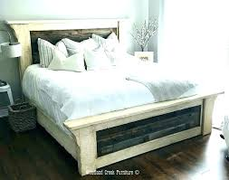 Rustic White King Size Bed Frame Wood Distressed Metal Bedroom ...