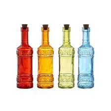 colored glass bottles com luna bazaar small vintage bottle set 6 5 inch