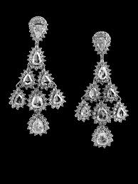 3 estate chandelier earrings with 11 72 carats of rose cut diamonds in 18kt white gold