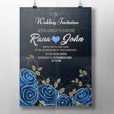 wedding invite template download royal blue wedding invitation template for free download on pngtree