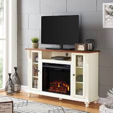carlinville electric fireplace tv stand antique white