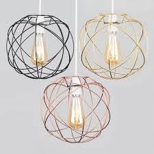 geometric sphere led ceiling pendant light shades black copper gold lampshade