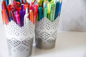 ikea office supplies. DIY Ikea Hack: Spray Painted Pen Cups Office Supplies