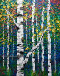 new painting colourful spring birch and aspen tree art by calgary landscape