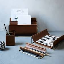 faux leather brass office accessories west elm