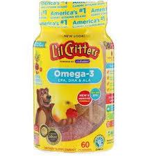 L'il Critters, <b>Omega</b>-<b>3</b>, <b>Raspberry</b>-<b>Lemonade Flavors</b>, 60 Gummies ...