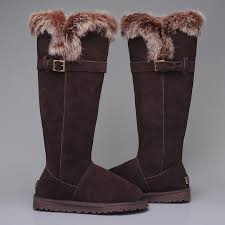 UGG Australia 1852 Women Fox Fur Tall Boots Chocolate