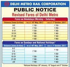 Metro Fare Chart Delhi Metro New Fares May 2017