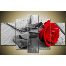 hand painted 5 piece set modern abstract beautiful wall art grey red rose oil painting on jpg 640x640 1000x1000 jpg
