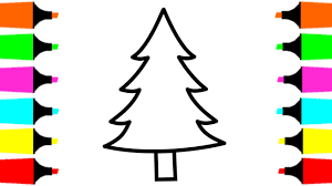 Christmas Tree Coloring Pages For Kids Painting And Drawing