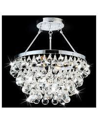semi flush mount crystal chandelier drum round shade chrome light