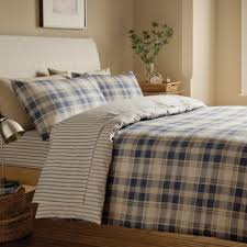 tartan blue plaid cotton duvet cover set