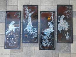 vietnamese lacquer painting panels mother of pearl four seasons 1960 s 1970 s on vietnamese wall art mother of pearl with vietnamese lacquer painting panels mother of pearl four seasons