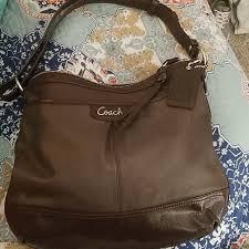 Brown leather Coach shoulder purse