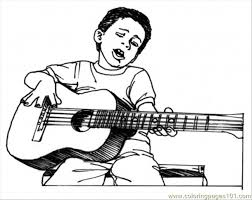 Small Picture Boy Play Guitar Coloring Page Free Instruments Coloring Pages
