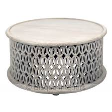 African Drum Coffee Table African Carved Round Coffee Table
