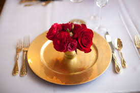 pink red gold wedding table ideas 7