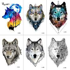 Wyuen акварель волк временные татуировки наклейки водонепроницаемый женщины
