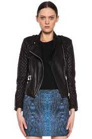 image 1 of barbara bui quilted lambskin moto jacket in black