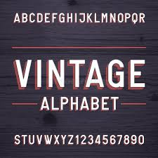 flyers numbers vintage style alphabet vector font letters and numbers on the dark
