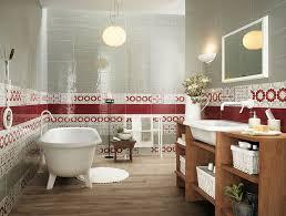 Red white bathroom border tiles Interior Design Ideas