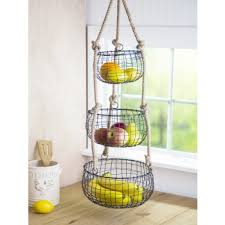 Home Essentials 3 Tier Black French Wire Hanging Fruit Basket - 82352 ...