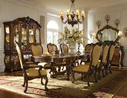 Dark Brown Finish Solid Wood Long Table Formal Dining Room Solid Wood Formal Dining Room Sets